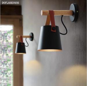 مصابيح الجدار LED Abajur لغرفة المعيشة الجدار الشمعدانات الخفيفة E27 الشمال حزام خشبي الجدار ضوء أبيض / أسود