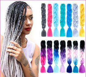 Hot Silky Strands Ombre Kanekalon Jumbo Synthetic Braiding Hair Crochet Blonde Hair Extensions Jumbo Braids Hairstyles