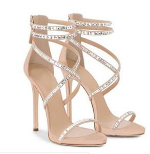Fard à joues rose noir daim femmes sandales à talons hauts plateforme croix wrap cristal couvert femmes pompes à la mode des femmes sandales