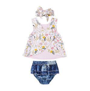Estate Neonati Vestiti Vestito Vestiti Stampa Floreale Top Shorts Fascia 3 pz Carino Increspature Abbigliamento Bambini Set Toddler 0-3Y
