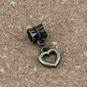 200 pz / lotto Ciondola Bronzo Antico Piccolo Cuore Aperto Charms Big Hole Beads Fit Braccialetto di Fascino Europeo Gioielli 10x23mm A-319a