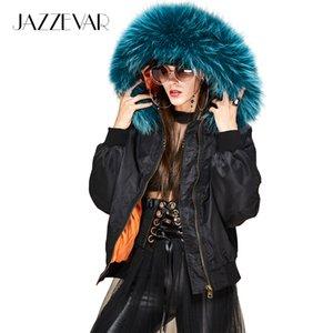 JAZZEVAR nueva moda de invierno mujer de la calle con capucha chaqueta con capucha gran cuello de piel de mapache corto chaqueta básica acolchada outwear
