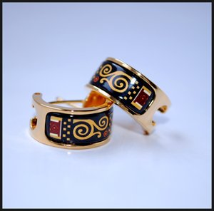 Klimt Series Hoop earring 18K gold-plated enamel earrings for woman Top quality hoop earrings
