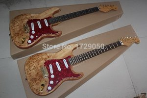 Top Quality China Custom Guitar F-ST ST Burl pattern 6 Strings natural Wood Electric Guitar Free Shipping Gold hardware 9300