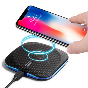 Универсальный Qi беспроводной зарядки Pad suqare с прохладным светом для Samsung s7 S8 note8 ip 8 X высокоэффективный Qi стандартный зарядный передатчик