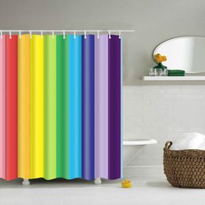 화려한 무지개 줄무늬 패턴 욕실 커튼 장식 방수 폴리 에코 - 친화적 인 샤워 커튼 150 * 180cm 180 * 180cm