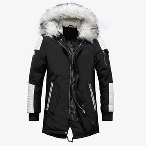 2018 Winterjacke Männer Pelzkragen Kapuze Oversized Schwarz Lange Parka Mäntel Pu Verdicken Winddicht Warme Jacken Oberbekleidung