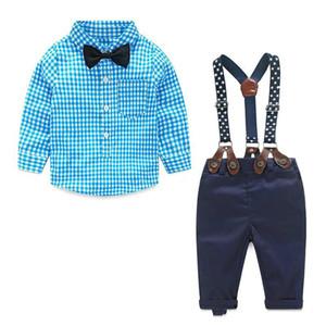 2018 Baby Boy Abbigliamento Primavera Neonato Set neonato Abbigliamento per bambini Gentleman Suit Plaid Shirt + Bow Tie + Sospendere Pantaloni 2 pezzi Tute
