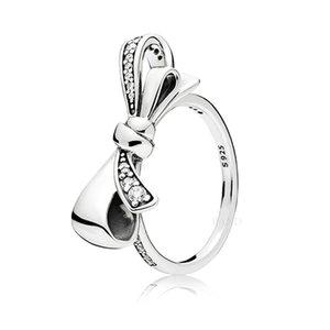 2018 herbst Neue Authentische 925 Sterling Silber Ring Für Frauen Brilliant Bogen Ring Klarem Kristall Mädchen Fingerring fit Dame Schmuck