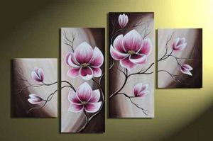 El boya sanat tuval boyama 4 panel soyut çiçek yağlıboya tuval el yapımı çağdaş sanatçılar boyama art deco resim sergisi satış