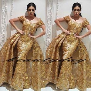 Bling Bling robes de bal de sirène Yousef Aljasmi 2019 Modeste Off Shouder Moyen-Orient Overkirt Dubaï occasion arabe Soirée robes