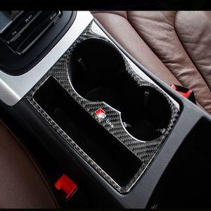 탄소 섬유 자동차 내부 컨트롤 기어 시프트 패널 워터 컵 홀더 커버 트림 스트립 자동차 스타일링 스티커 아우디 A4 B8 A5 용 자동차 액세서리