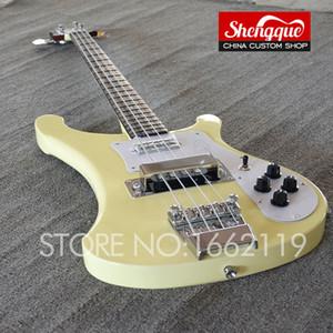 Rare 4 Cordas RIC 4003 Chris Squire Assinatura Creme Elétrica Bass Guitar Neck Thru Corpo, Rosewood Fingerboard Dot embutimento