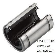 20 unids / lote LM40UU-OP LM40UUOP LM40-OP 40mm tipo abierto buje deslizante lineal rodamientos de movimiento lineal 3d piezas de la impresora cnc router 40x60x80mm