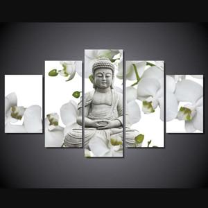거실 벽 장식 대형 난초 배경 Buddha Painting Fengshui Painting Wall Art 현대에 인쇄 된 캔버스