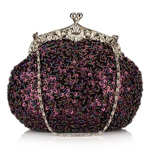 Solid Beading Hobos Bag Shiny Sequined Woman Evening Bag Luxurious Clutch Handbag Wallet Retro Old Shanghai Style with Cheongsam