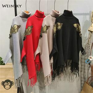 Weinsky donne casual maglia maglioni lunghi oversize e mantello turtlenck signore autunno e inverno 2018 maglioni di grandi dimensioni moda