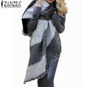 Zanzea 2018 الشتاء zanzea أزياء المرأة بطانية وشاح الإناث الكشمير الباشمينا الصوف وشاح شال والأوشحة الدافئة سميكة كيب الأغطية S18101904