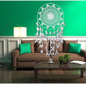 Экологичный Белый Handmade Ловец снов с перьями стены висячие украшения Дом и сад Гостиная Украшение Dreamcatcher