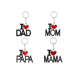 Eu amo PAIZINHO MAMÃ PAPA MAMÃ Keychain Chaveiro Coração Vermelho Amor Chaveiro Anéis Bijuterias para a Mãe Pai Presentes Frete Grátis