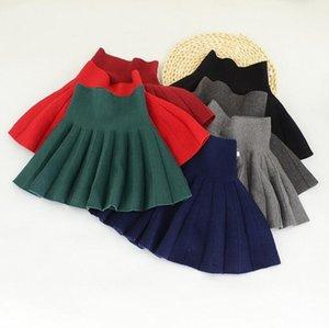 Plissee Knit Röcke für Mädchen Hoch-Taille fester Wolle Rock-Mädchen-Kleidung süße adrette Art Günstige Qualitätskleidung 2018 Herbst Winter BY0437