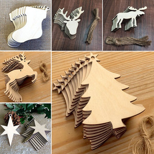 Christmas Tree Ornaments Wood Chip Wholesale Snowman Tree Deer Socks Hanging Pendant Christmas Decoration Xmas Gift 10 pcs Lot WX9-123