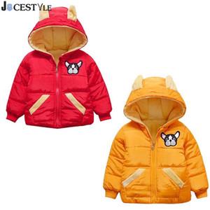 JOCESTYLE Giacche invernali per bambini Bambini Ragazzi Cane Ricamo in pile Antivento Cappotto con cappuccio Capispalla Abbigliamento per bambini