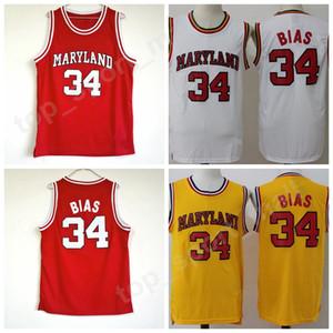 Колледж 34 Len Bias Jersey Men Баскетбольный Университет 1985 Мэриленд Терпс Трикотажная команда Red Yellow White Away Sport