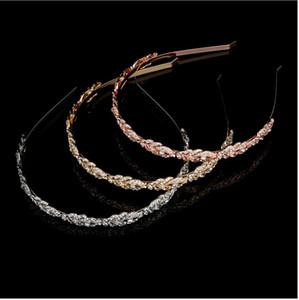 Luxe Couronne De Mariée Sparkle Rose Or Argent Strass Cristaux Roayal De Mariage Couronnes Cristal Voile Bandeau Cheveux Accessoires Partie Diadèmes