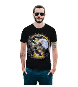 NEW Best Sellers streetwear mens 3D eagle print t-shirt short sleeve metal rock animal clothing t shirt black o neck Tops tshirt
