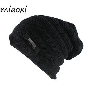 Miaoxi Hip Hop Mode Hommes Chapeau D'hiver Pour Femmes Rayé Casual Bonnets Skullies Femelle Laine Tricot Chapeaux Gorras