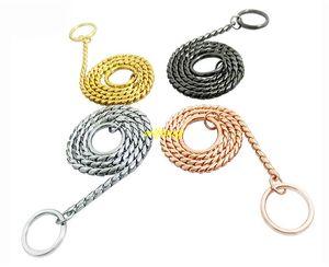10 pz / lotto 4mm 5mm diametro di alta qualità guinzaglio per cani outdoor walking training metallo serpente catena collare di cane di rame guinzagli di base