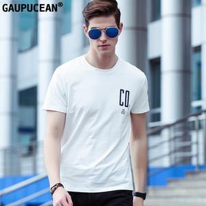 Gaupucean Man T-shirt Hohe Qualität Oansatz Mode Blau Weiß Schwarz Baumwolle Spandex Sommer Kurzarm Rundhals Männer T-shirt