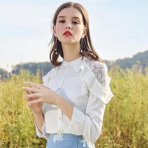Women's Stand Collar Shirt 2018 Autumn New Woven Panelled Shirt S-XL Lady Blouses Fashion White Shirt