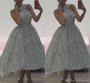 2019 charme de prata lantejoulas vestidos de baile halter plus lace sem mangas macios montagem oi-baixo de alta qualidade cocktail party dress