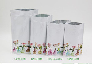 Heat Vacuum Seal Packaging Pouches Matte White Open Top Rose Printed Pure Aluminum Foil Bag mask Food Snack Coffee