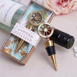 Goldene Kompass Wein Stopper Hochzeit Bevorzugungen Und Geschenke Wein Flaschenöffner Stopper Bar Werkzeuge Souvenirs Für Party Supplie