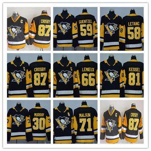 Jeunesse 87 Sidney Crosby Jerseys Kids 2018 Penguins de Pittsburgh 71 Evgeni Malkin 66 Mario Lemieux 58 Kris Jersey Hockey Jersey