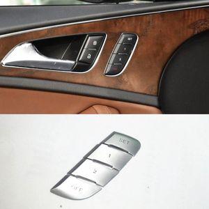 Boutons de porte de voiture Unlock Paillettes décalcomanies Trim pour une Audi A6 2012-18 Chrome ABS Boutons mémoire Siège Décoration