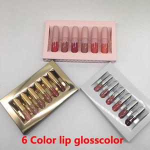 HOT Gold lip gloss 6 colori Compleanno Limited Edition Holiday Matte Rossetto Valentine Lip gloss Mini Kit Lip Cosmetics 6 Colori set trucco