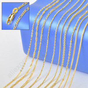 "GIEMI Retail 10PCS muestra 18 ""Mix 10 Kinds Solid Yellow Gold Filled Venecia Figaro Rolo Curb Necklace Chains - Stamped 1.2-2MM"
