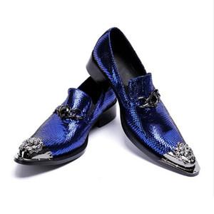 YENİ Mavi erkek deri demir baş nefes moda ayakkabılar. Avrupa lüks demir kafa Oxford ayakkabılar. size38-46 ücretsiz kargo