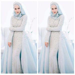 2018 우아한 회교도 하늘 파란색 인어 웨딩 드레스 사용자 지정 파란색 된 크리스탈 진주 구슬 로맨틱 공식적인 결혼식 공식적인 신부 가운