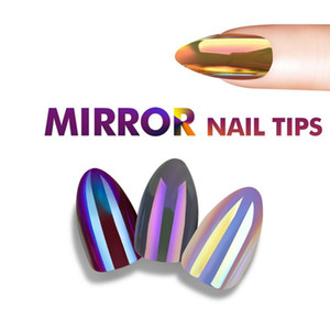 Модные зеркальные хромированные накладные стилетные гвозди Советы Отражение накладных ногтей Волшебный зеркальный эффект Миндальные накладные ногти