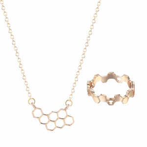Kinitial 2017 New Bee Hive Polygon Hexagon Ring Geometric Honeycomb Pendants Necklaces for Women Wedding Jewelry Set
