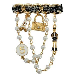 Satış Öğeleri Ücretsiz Kargo Elegant Lady İnci Zincirler Broşlar Iğneler Eşarp Toka Yaka Takı Giyim Süslemeleri Üst Toptan