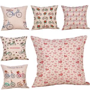 Lençóis de algodão da flor da bicicleta fronha sofá cintura fronha decoração da casa de algodão de linho marca nova 45 cm * 45 cm moda 10JUL 16 fronha