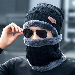 Шея Теплая Зимняя Шапка Вязаная Шапка Шарф Cap Для Мужчин Женщины Вязаная Шапка Мужчины Шапочка Вязаная Шапка Skullies Шапочки
