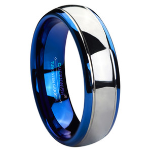 기념일 반지 6mm 텅스텐 약혼 반지 파란색 IP 도금 실버 돔 높은 광택 웨딩 밴드 고유 보석