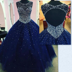 Sweet 16 Dark Navy Quinceanera Dresses 2019 Sheer Neck Major Beading Puffy Open Back Floor Length Real Images Girls Vestidos de 15 anos
